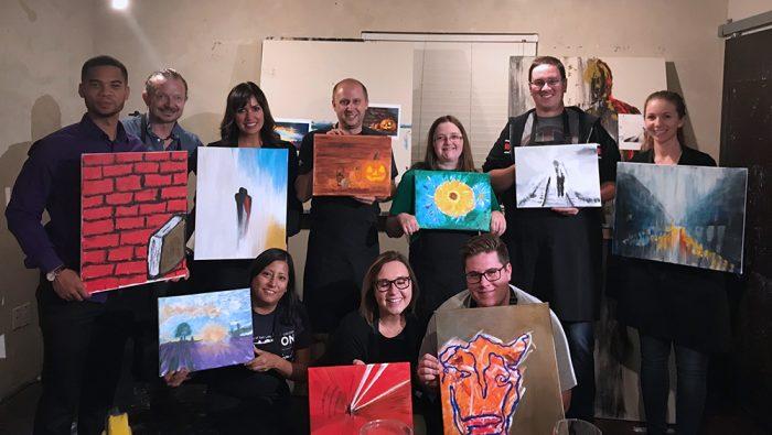 Union Scholarship Group during art night at Ran Art Studio